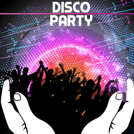 Disco Party Background held by hands Vector Illustration
