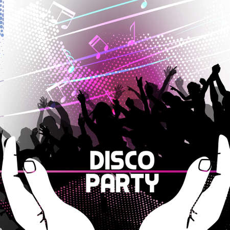 Disco Party Background held by hands Vector Illustration Stock Vector - 19201982