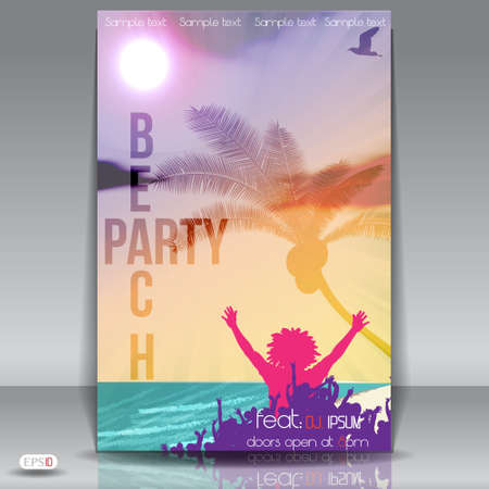 summer beach party: Summer Beach Party Flyer with Dancing Young People