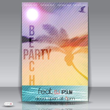 beach happy new year: Summer Beach Party Flyer with Dancing Young People