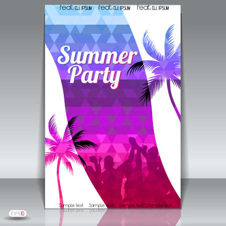 Summer Beach Party Flyer with Dancing Young People Vector
