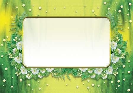 Jasmine  border on Green background