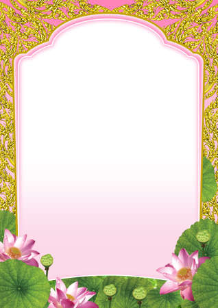 Pink lotus on Lai-Thai frame background