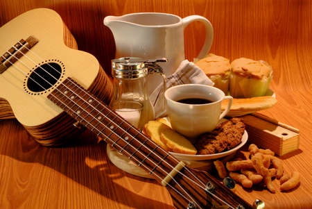 coffee cup and Breakfast on dark background  Stock Photo
