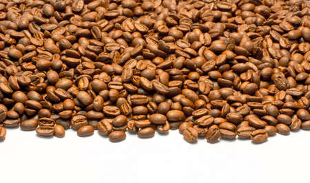 stripe of coffee beans isolated on white  Stock Photo