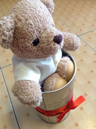 Litte bear on the floor Stock Photo