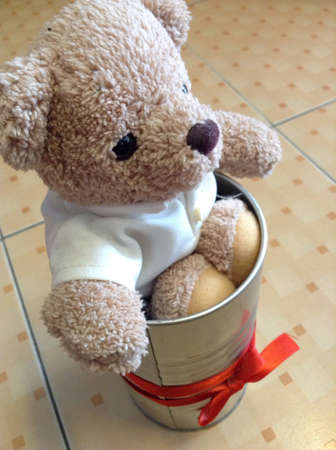 clothing: Litte bear on the floor Stock Photo