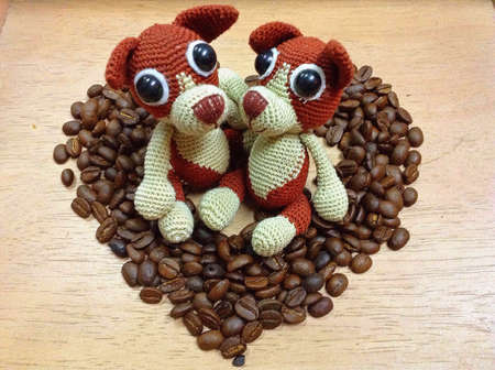 Heart coffee and two doll
