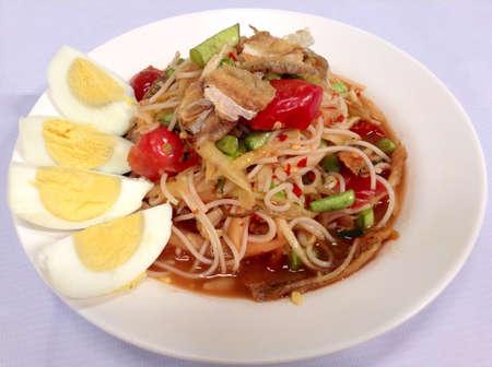 Papaya salad Thai food Stock Photo