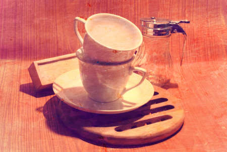 Cup Kaffeebohnen Vintage Lizenzfreie Bilder