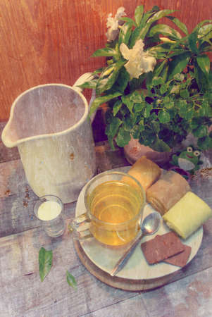 drink cup and fancy roll vintage