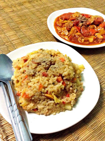 Sour and sweet stir-fry and fried rice. Thai food