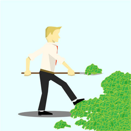 businessman takes the money with a shovel illustration