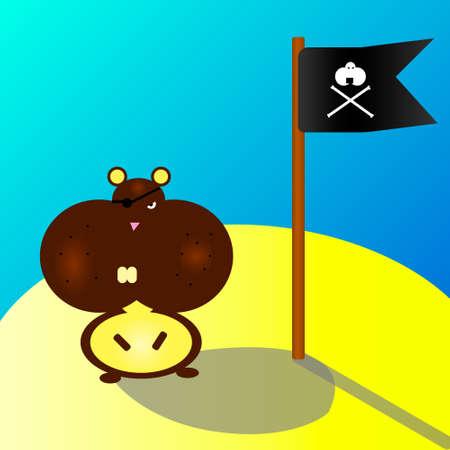 Hamster, pirate on the island illustration