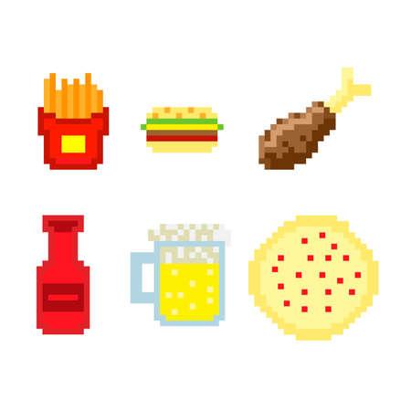 Pixel fast food vector