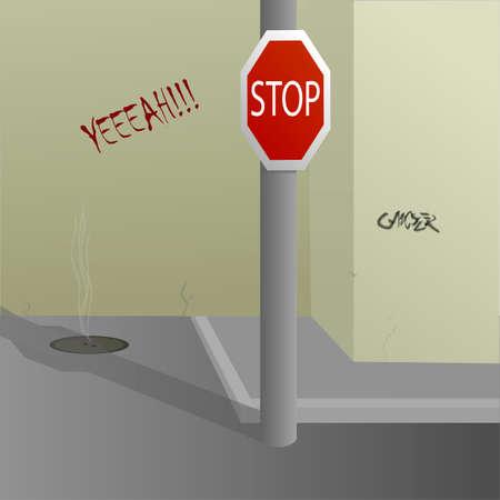 backstreet and stop sign vector illustration Illusztráció