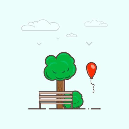 green lantern: Tree and bench with balloon minimalism