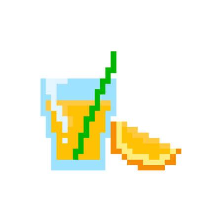 Pixel glass of orange juice