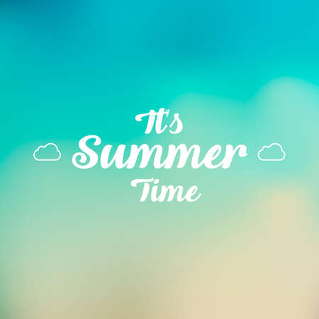 beach party: Beautiful landscape with text Summer time. Lettering. Bright, colorful background. Summer illustration Illustration