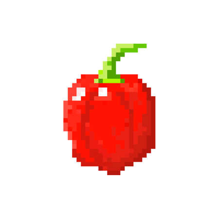 Red pixel bell pepper for games and applications