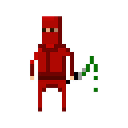 8bit: Pixel  red ninja with a poisoned blade for games and applications Illustration