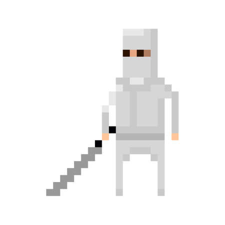 8bit: Pixel  white ninja with sword for games and applications Illustration