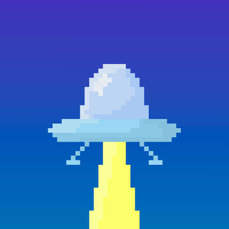 Pixel flying saucer for games and applications.