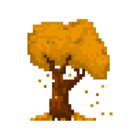 8bit: Pixel autumn yellow tree for games and applications