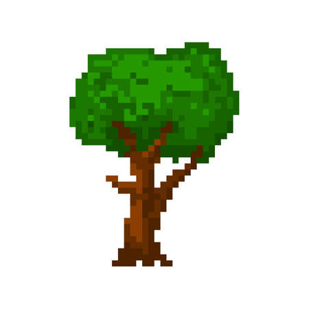 8bit: Pixel green summer tree for games and applications Illustration