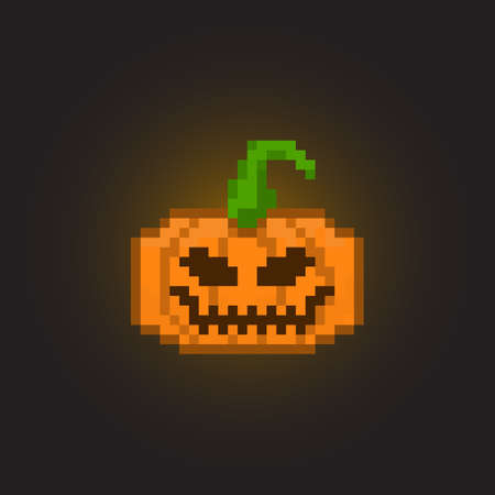 8bit: Pixel halloween pumpkin for games and applications Illustration