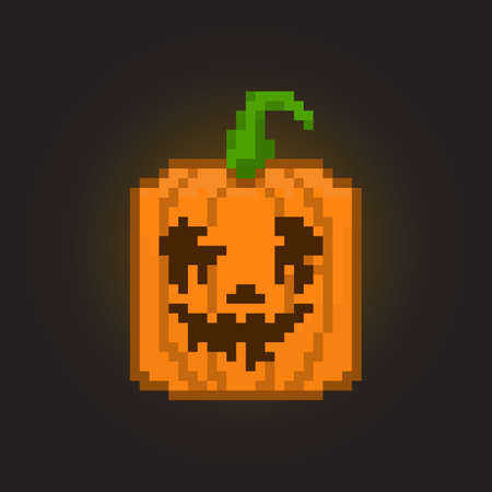 Pixel halloween pumpkin for games and applications Vector Illustration