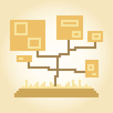 Pixel abstract autumn trees for games and applications