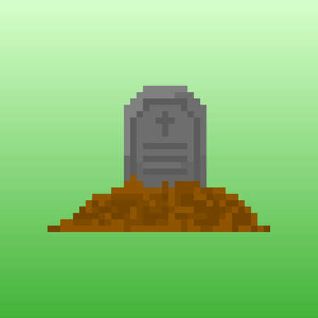 grave stone: Pixel tombstone for games and applications. Scenery for Halloween.