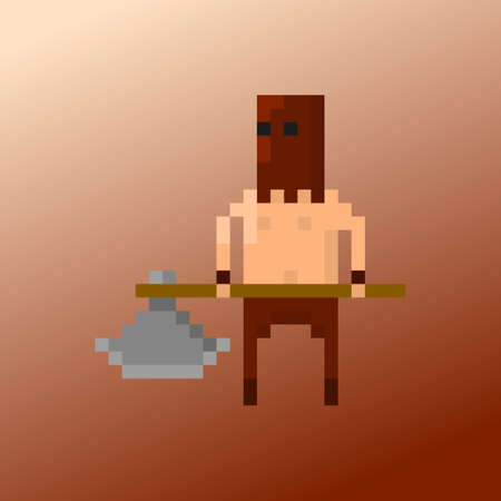 Pixel character executioner for games and applications Illustration