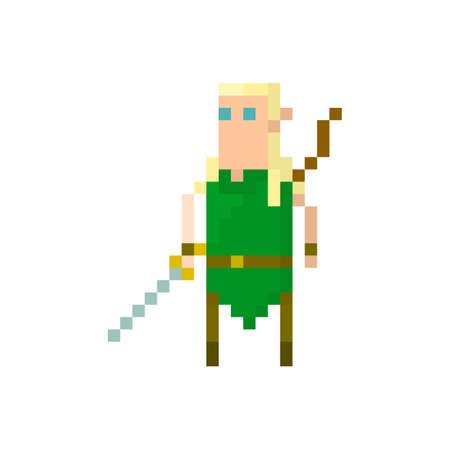 Pixel elf warrior with sword and bow. ?haracter for games and applications Иллюстрация