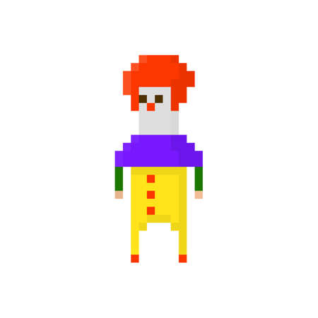 Pixel character angry clown for games and applications Vector Illustration