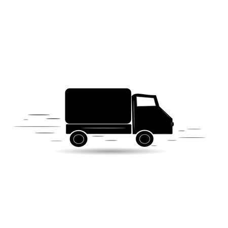 Vector black icon. Fast delivery of any goods, freight. Truck at high speed. Stockfoto - 147403119