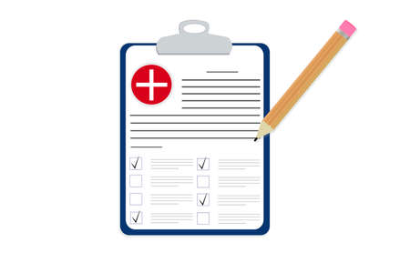 Flat tablet. Medical form with checkmarks, clinical record. Icon with a cross, pencil marks. Vectorial illustration.  イラスト・ベクター素材