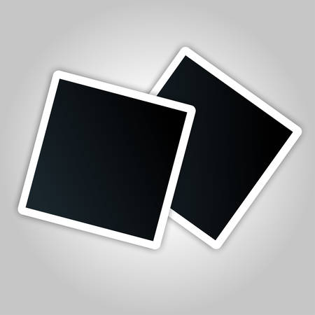 Photo card template with white indent. Sample photo frames with shadow on a gray background. Blank photo mockup, photo frame. vector image.