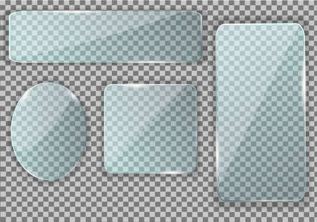 Glass, a mirror of four types in the form of an oval and a rectangle, a square with rounded corners. Pure reflection, flickering glare. Illuminated window insert. Realistic glass screen. Vector