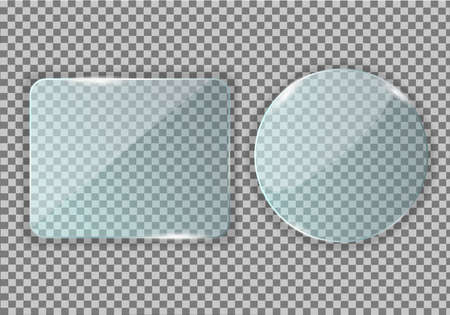 Glass, mirror in the form of a circle and a rectangle with rounded corners. Clear reflection, twinkling glare. Window glass insert with backlight. Realistic glass screen.Vector Illustration