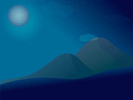 Beautiful landscape. Dark background, night sky with stars and a full moon. A high massive mountain range upon which moonlight falls. Wildlife, mountains warm evening and outdoor recreation. Vector.