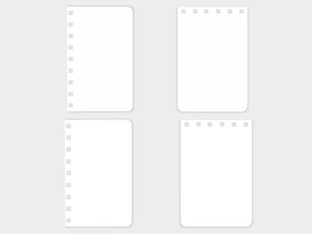 Stationery, white sheets of paper for a notebook with square slots, holes for fastening with a spring, on a gray background. Page sheets for notes, abstract. Vector image.