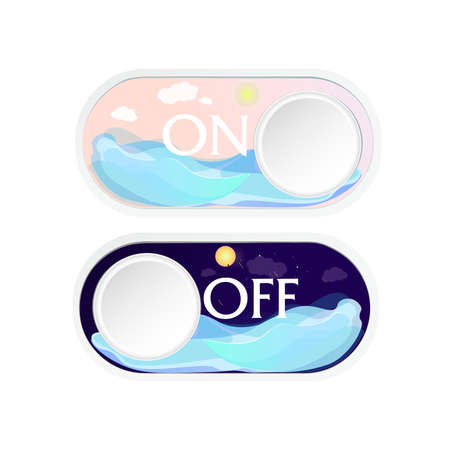 con on and off, day and night. Switch button on a white background. The flat design of the buttons inside which depicts the ocean at night and day. Vector illustration. Illustration
