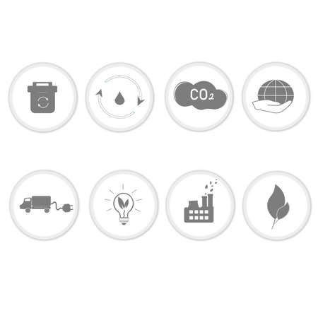 Set of eco icons. Environmentally friendly waste, treatment of industrial effluents and emissions. Caring for the environment. Natural energy, solar panels as an alternative. Vector image Illustration