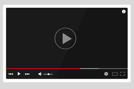Video player, playing media and audio files. Button play track. Sound volume, download tape, timeline. Layout for placing a player on a site or application. Vector