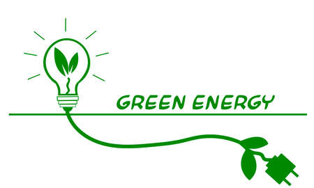 The concept of development of natural energy production, preservation of the environment and ecology. Econymy of the world. Green light bulb with a wire. Vector illustration. Vettoriali
