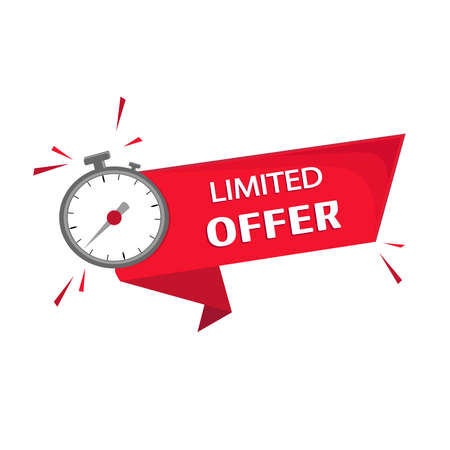 Publication, advertising, promulgation and subsequent offer to obtain a profitable purchase or transaction in a limited time. Countdown for any type of sale or offer.Vector image in red color, alarm Stock Illustratie