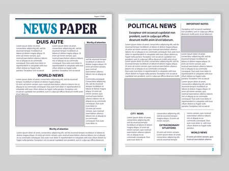 Eine doppelseitige Zeitung, zwei Seiten, aktuelle Nachrichten, aktuelle Informationen zu nachfolgenden Ereignissen in der Welt. Ein in Spalten unterteilter Papierausdruck enthält wichtige Informationen und Abbildungen.