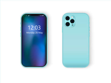 Mobile phone, personal gadget. Rear and front view, two foreshortenings. Realistic turquoise blue phone with a triple camera. Vector image. Vectores